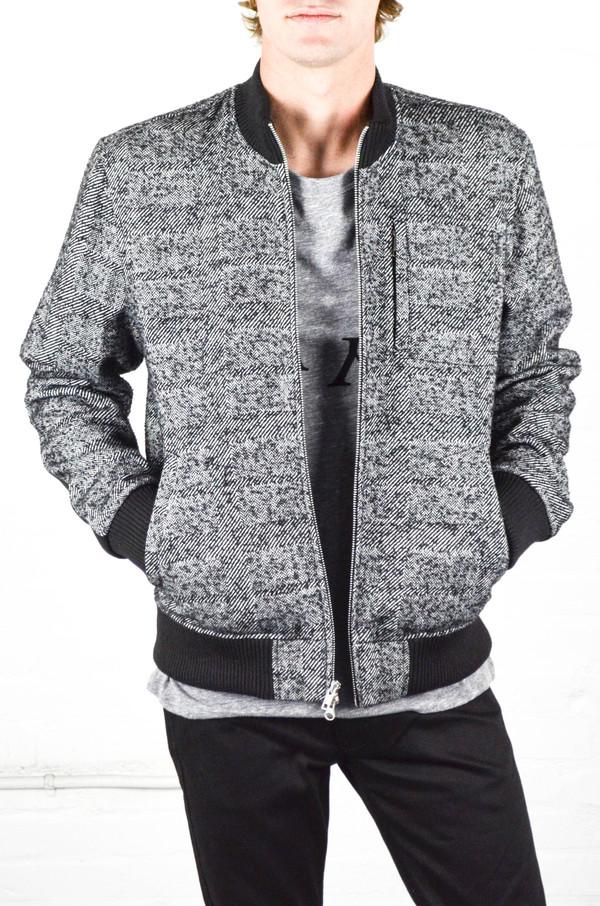 Men's Odin Grey Herringbone Bomber Jacket