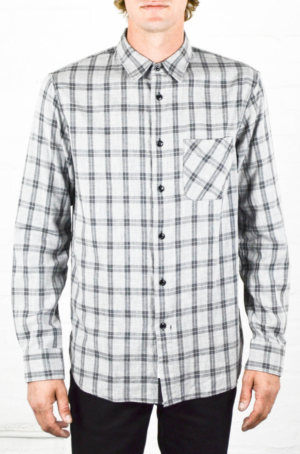 Men's Rag and Bone Grey Check Beach Shirt