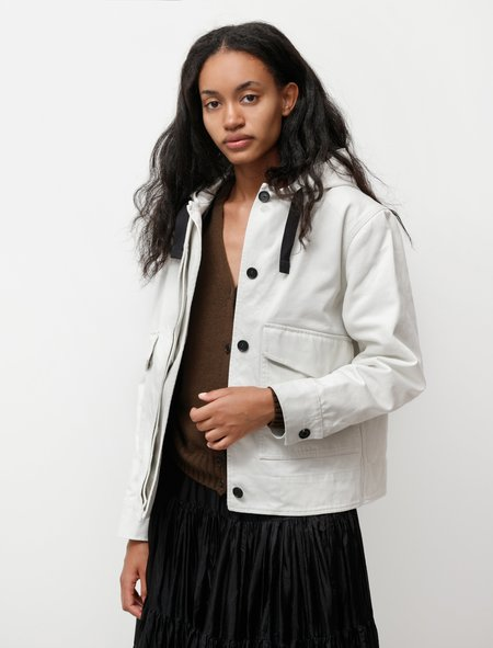 Margaret Howell MHL Cropped Hooded Jacket Heavy Drill - Off White