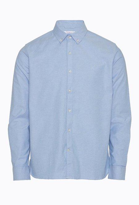 Knowledge Cotton ELDER Small Owl Oxford Shirt - Lapis Blue