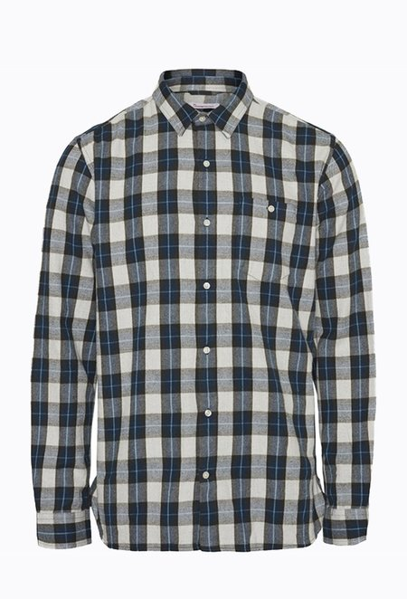 Knowledge Cotton LARCH Checked Flannel Shirt - Forrest Night