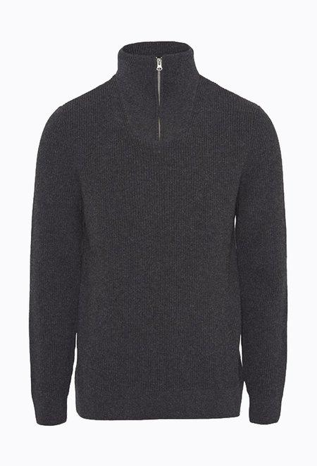 Knowledge Cotton VALLEY Mock Neck Zip Knit - Dark Grey Melange
