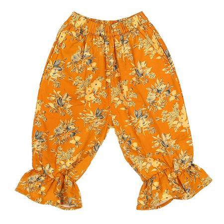 KIDS Tambere Child Chur Ruffled Floral Print Pants - Yellow
