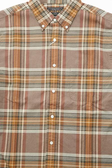Beams Plus B.D. Shaggy Oxford BG Check Shirt - Brown