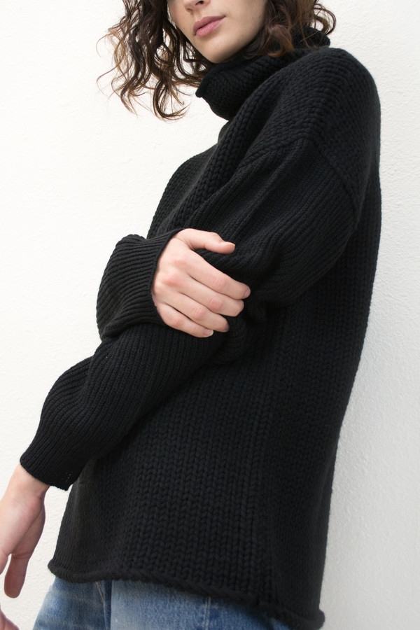 Micaela Greg Black Funnel Neck Sweater
