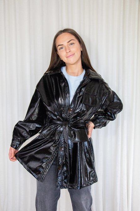 Tach Clothing CARIOCA Vegan Patent Leather Trench Coat - Black