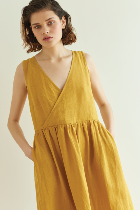 100% linen Eat Sleep Repeat Dress - Gold