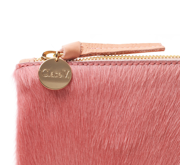 Clare V. Blush Hair On Wallet Clutch