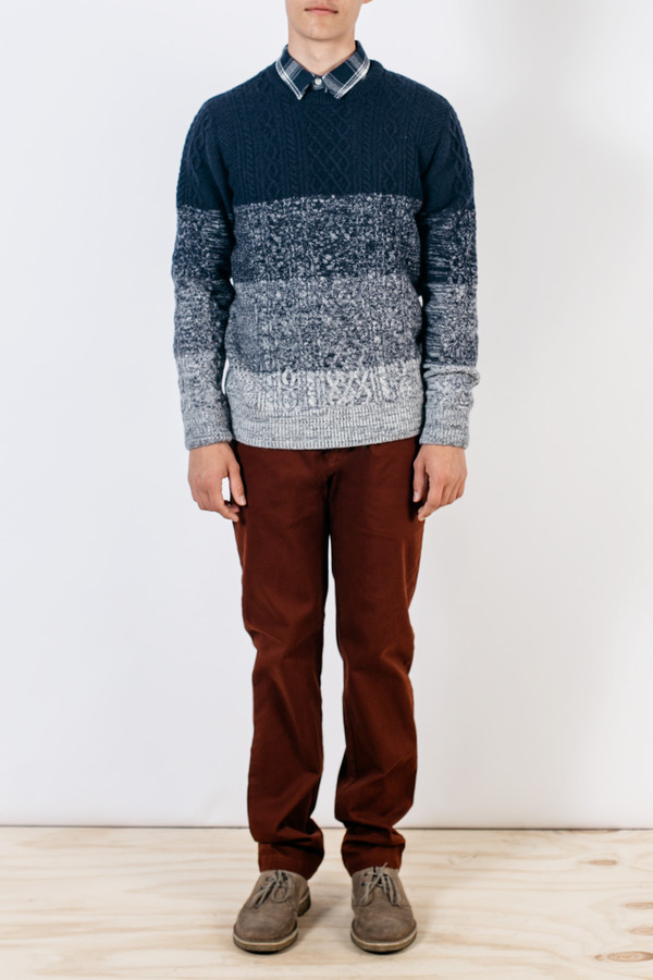 Men's Barque Cableknit Gradient Sweater Navy
