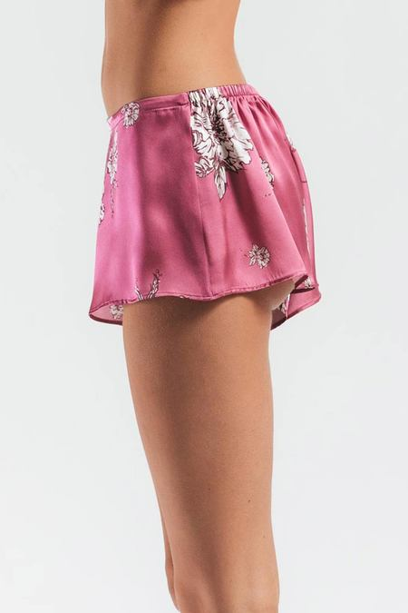 NK IMODE Peony Blooms Silk Lounge Shortie - FLORAL-PINK