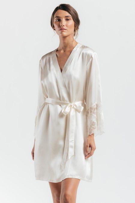 nk imode Thalassa Signature Short Silk Robe - Ivory