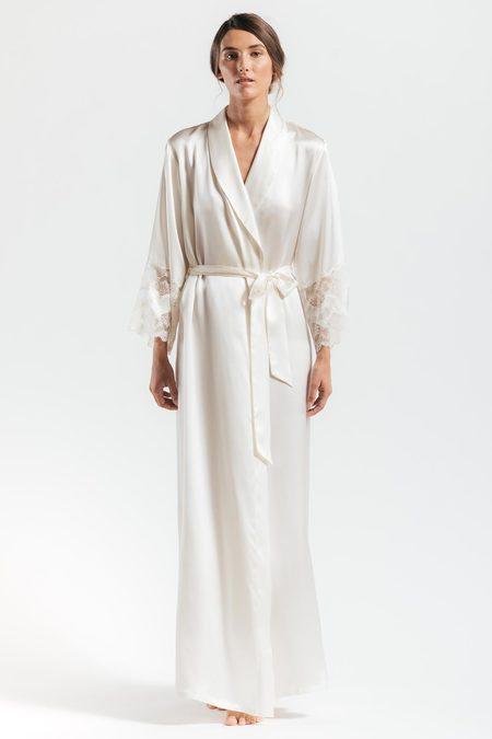NK iMODE Thalassa Statement Long Silk Robe - Ivory