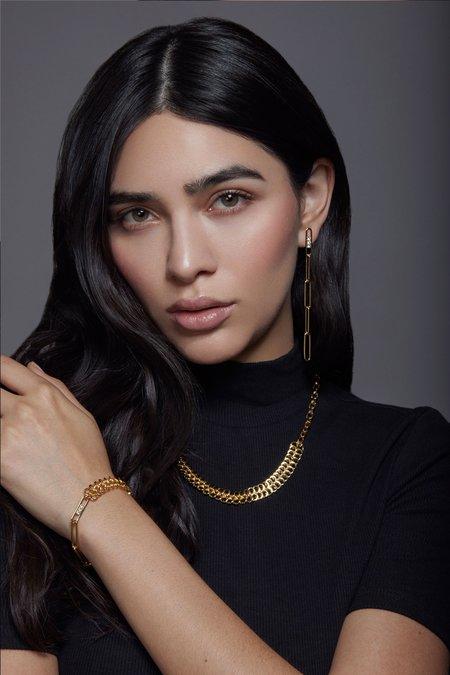 Joomi Lim Asymmetrical Chain & Crystal Link Earrings - 18k Gold
