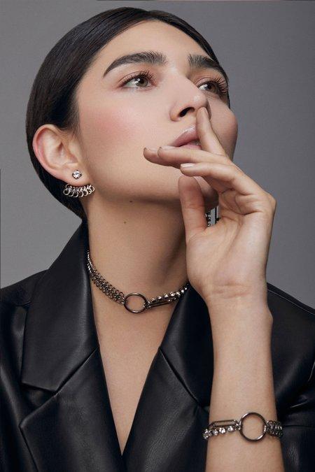 Joomi Lim Asymmetrical Chain, Hoop & Crystal Bracelet - Ruthenium