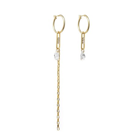 Joomi Lim Asymmetrical Hoop & Chain Earrings w/ Crystal Links & Crystals - 18k Gold
