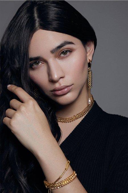Joomi Lim Asymmetrical Hoop Earrings w/ Chains & Crystals - 18k Gold