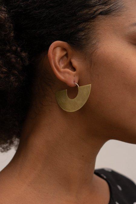 Modern Madini Half Circle Disc Hoop Earrings - Brass