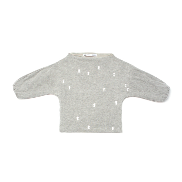 OMAMImini Grey Dolman Sleeve Sweater with Keyhole Print