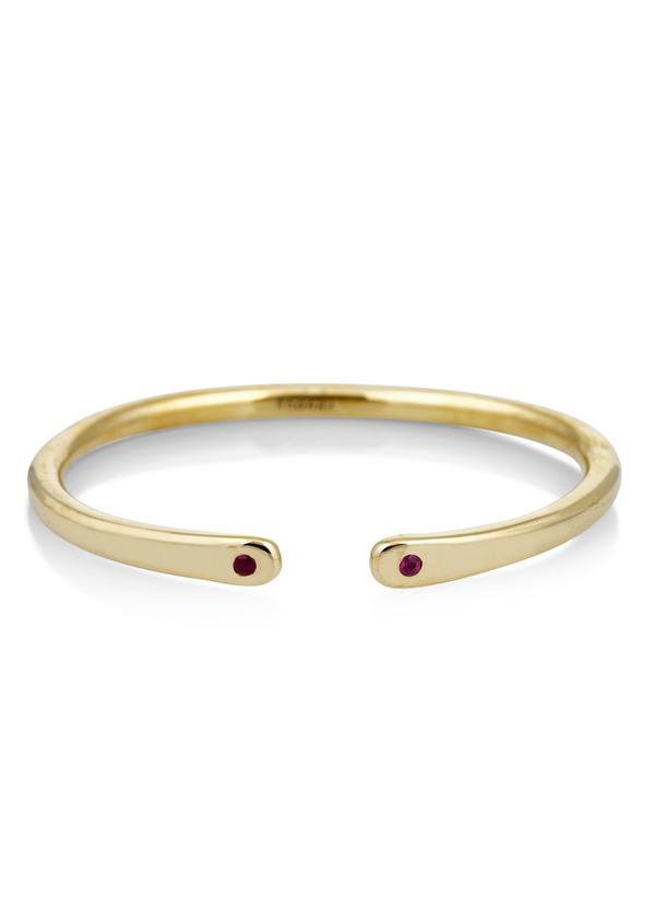 Scosha Brass open cuff with rubies