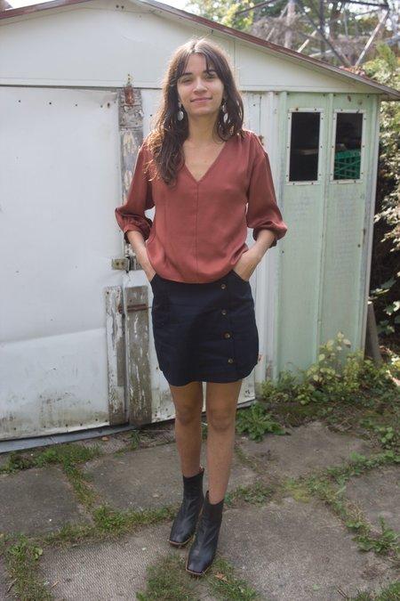 Meemoza Louise Skirt - Navy Cotton