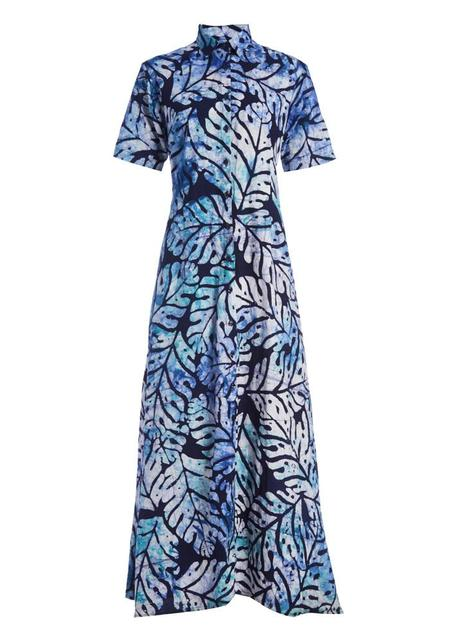 Studio One Eighty Nine Big Leaf Cotton Hand-Batik Regular Collar Short Sleeve Shirt Dress - Navy/Blue