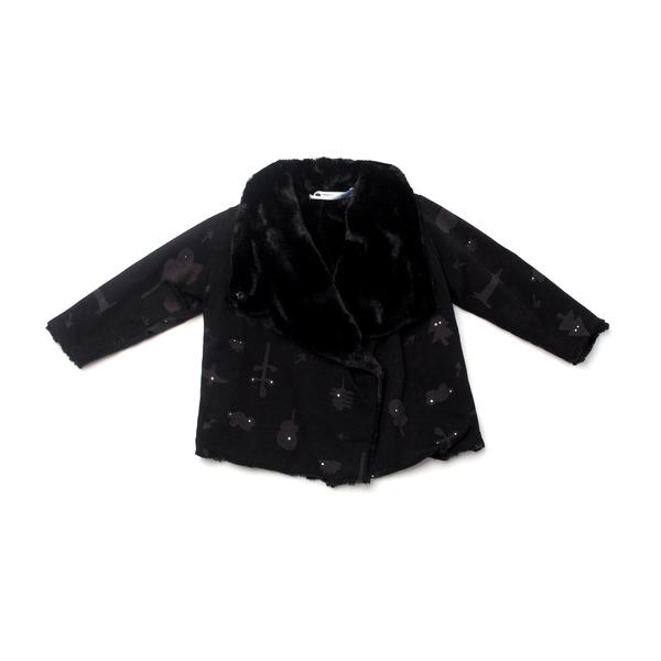 OMAMImini Black Secret Forest Draped Jacket with Faux Fur