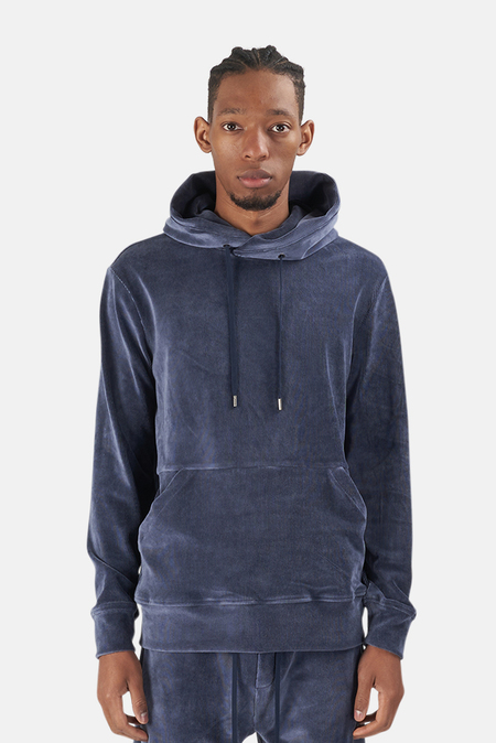 Wheelers.V Bowery Velour Cord Hoodie Sweater - Midnight Blue