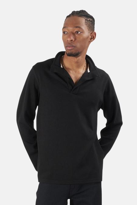 Blue&Cream x Wheelers.V Twill Knit Placket Mock Neck Sweater - Black