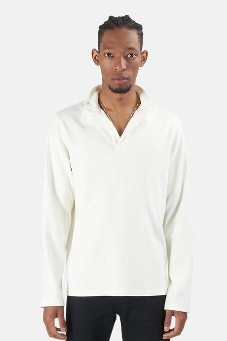 Blue&Cream x Wheelers.V Twill Knit Placket Mock Neck Sweater - Off White