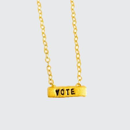 Chocolate and Steel Vote Tiny Mantra Necklace - Gold