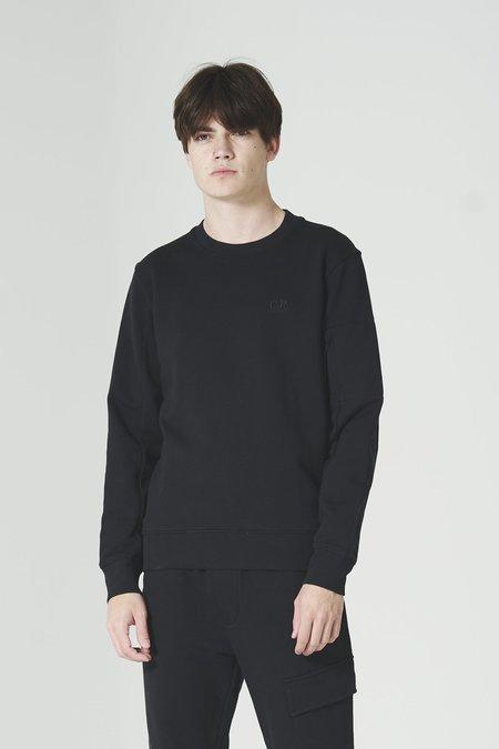 C.P. Company Diagonal Fleece Lens Crew Sweater - Black