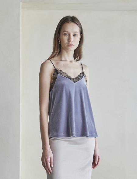 Maison De Ines Velvet Lace Slip - Matte Gray
