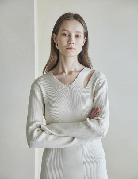Maison De Ines Slit Knit Dress - Ivory