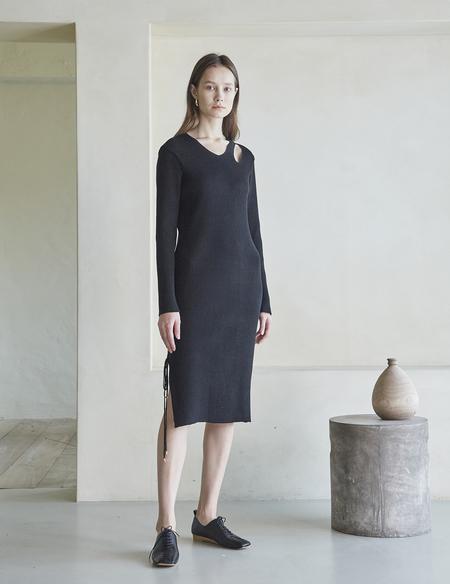 Maison De Ines Slit Knit Dress - Black