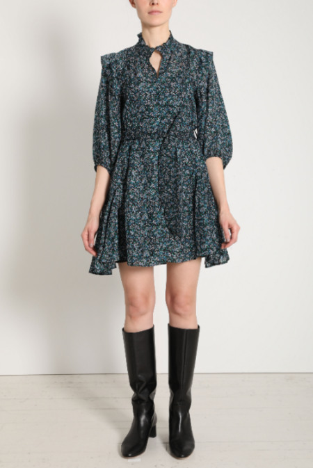 Apiece Apart Rafaela Mini Dress - Tiny Petals Marine