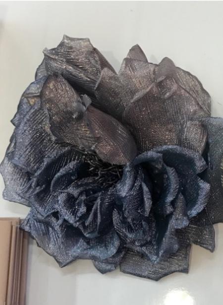 INDRESS Big Lurex Flower Brooch/Headpiece - Mauve/Skin