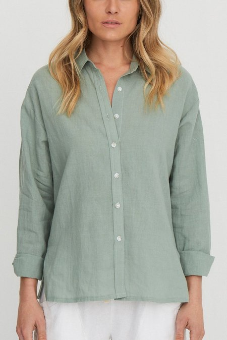Mabel and Moss Elle Button Down Shirt - Sage
