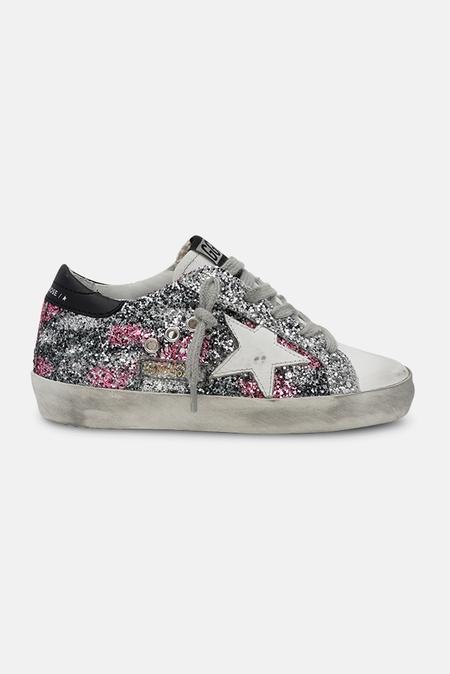 kids Golden Goose Superstar Sneaker Shoes - Fuxia/Silver Glitter