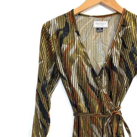 Marigold Lona Dona Wrap Dress - Moss/Gold Mix