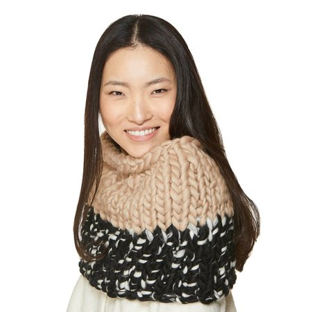 Mischa Lampert mocha au lait large snood - black/white blend