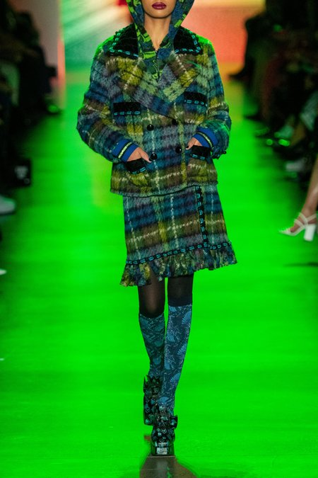 Anna Sui Brushed Plaid Skirt