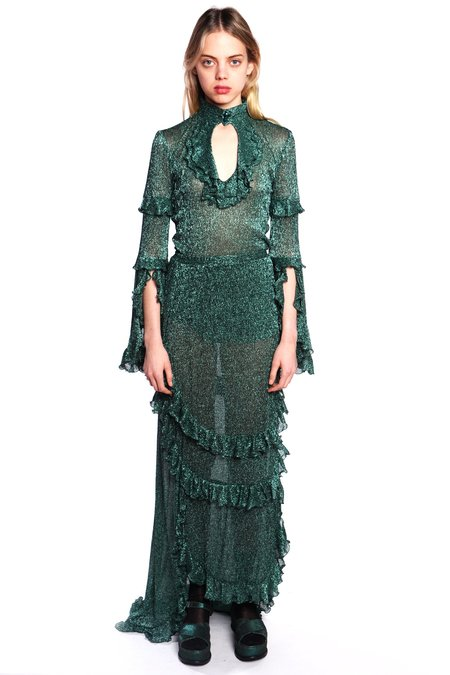 Anna Sui Twinkle Crinkle Metallic Tulle Skirt - Forest