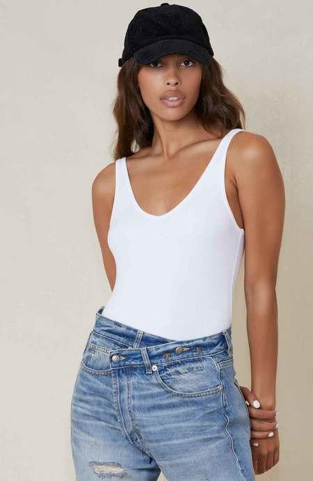 ATM Deep V-Neck Bodysuit - white
