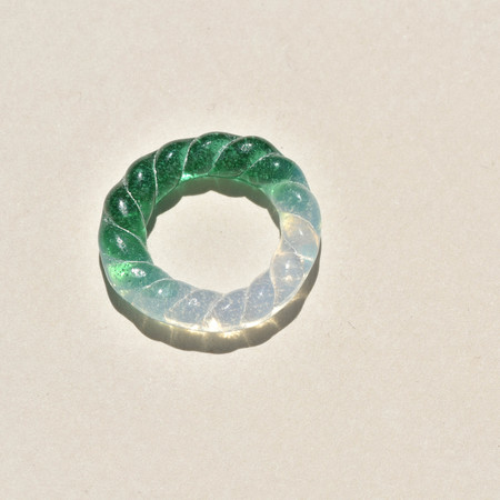 Leigh Miller Jewelry Glass Rope Ring - Emerald / Opal
