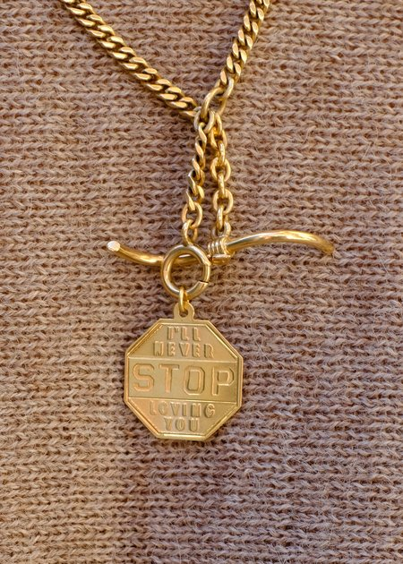Vintage Samantha Knight Vintage Stop Sign Charm - 14k gold