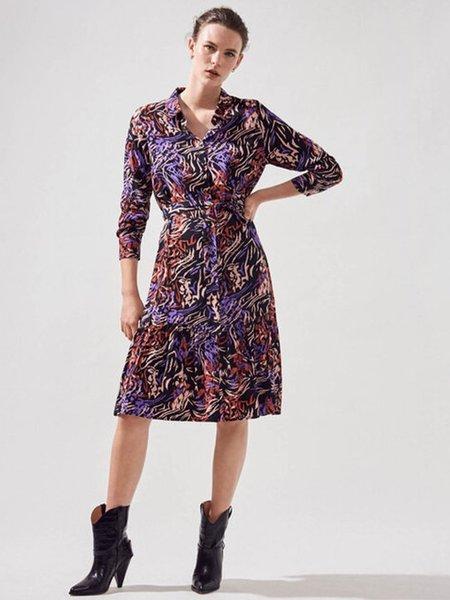 Suncoo Claudia Stripy Shirt Dress - Mauve