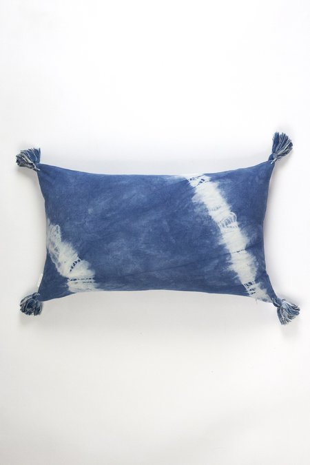 Archive New York Diagonal Shibori Tassel Pillow - Indigo