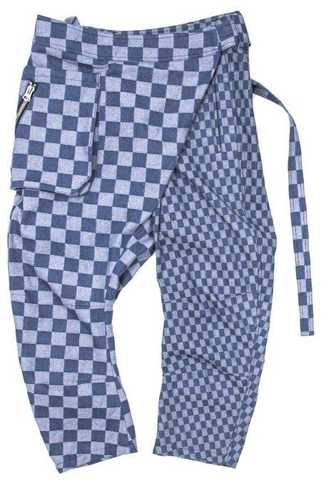 Unisex FRIED RICE CHECK WRAP PANT - Blue