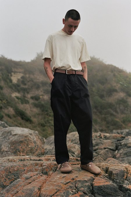 Universal Works Patched Mill Fatigue Pant - Black/Navy Twill