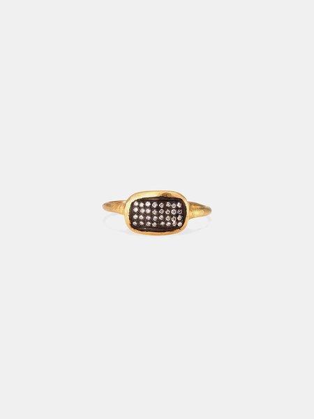 satomi kawakita ring with oxidized silver + diamonds - 18k yellow gold